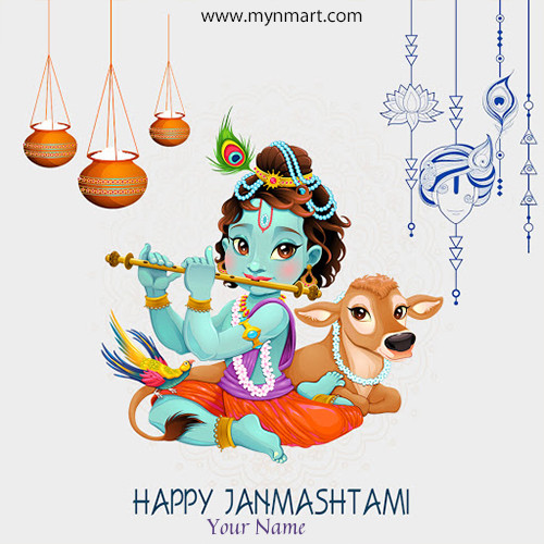 Happy janmashtami Greeting with Name 2020