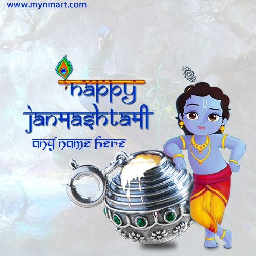 Happy Janmashtami Greeting With Your Name and Picture of Bal Krishna