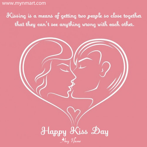 Happy Kiss Day Hearts Love Picture With Your Name