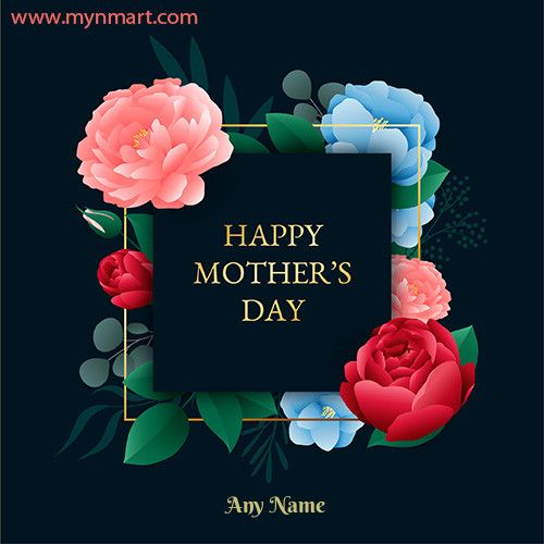 Happy Mother Day Dark Background with Flower