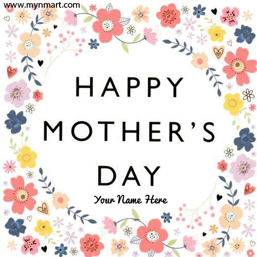 Happy Mothers Day With Flower Design on Card