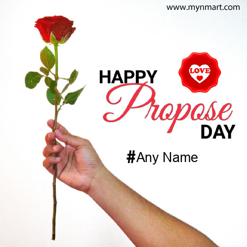 Happy Propose Day Greeting with Rose and Name