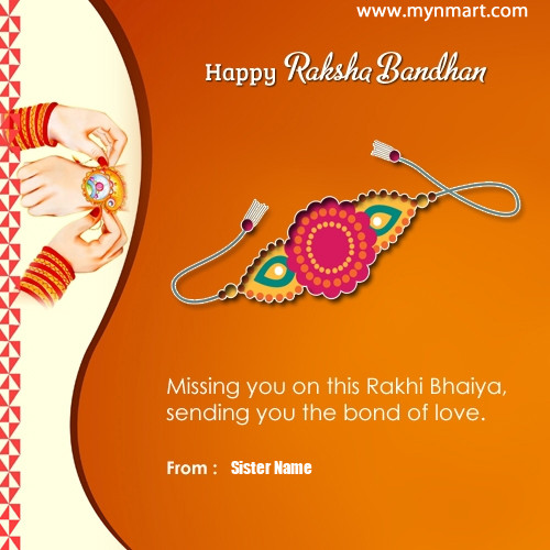 Happy Raksha Bandhan Brother Missing Quote By Sister