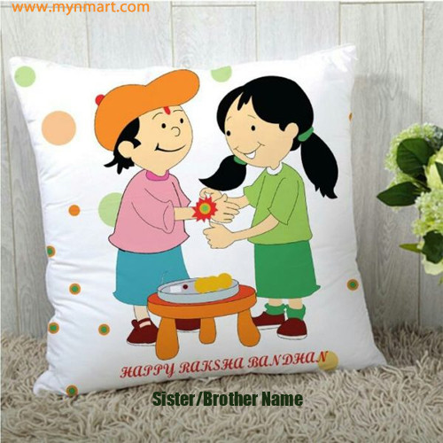 Happy Raksha Bandhan Sister Tie Rakhi on Brother Hand Cartoon Greeting