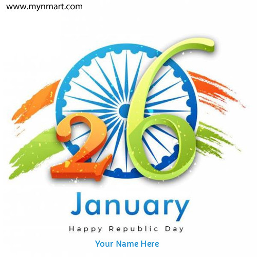 Happy Republic Day Greeting with Your Name