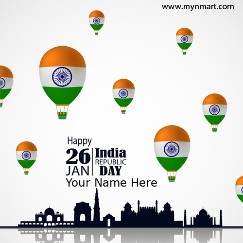 Happy Republic day with balloons