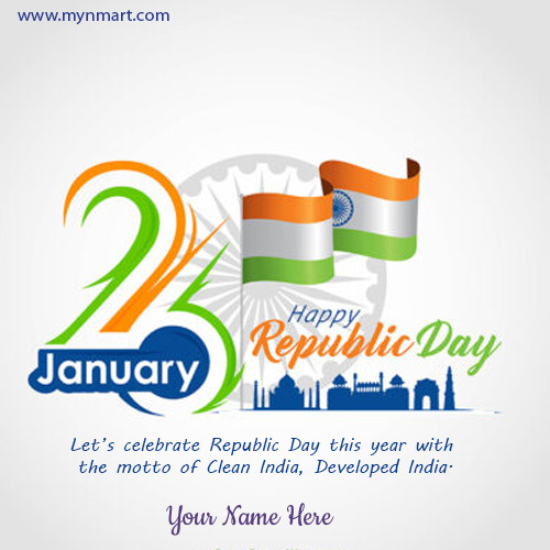 Happy Republic Day With Clean India Developed India Motto