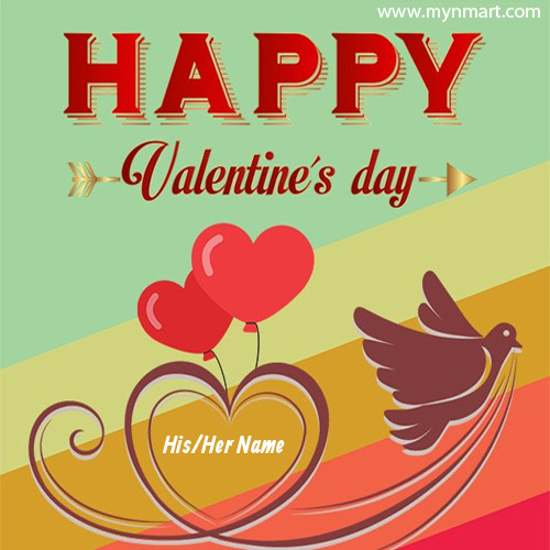 Happy Valentine day with Heart Shape Balloon Flying with birds