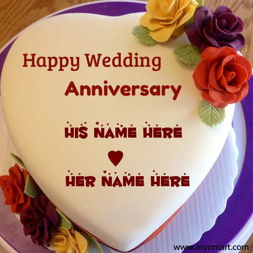 Happy Wedding Anniversary Cake With Couple Name On Cake