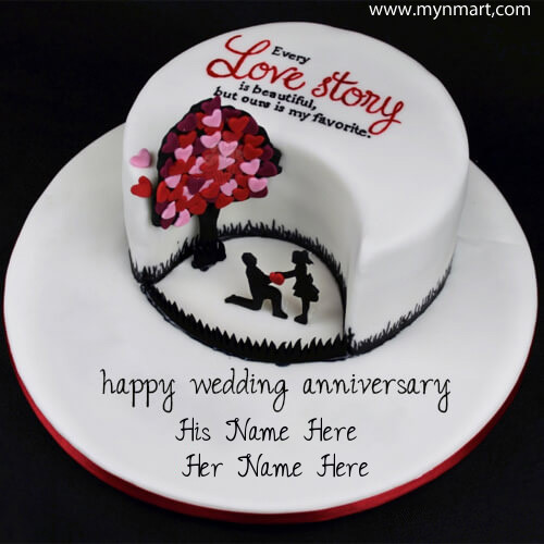 Happy Wedding Anniversary Cake with Every Love Story Beautiful Greeting on cake