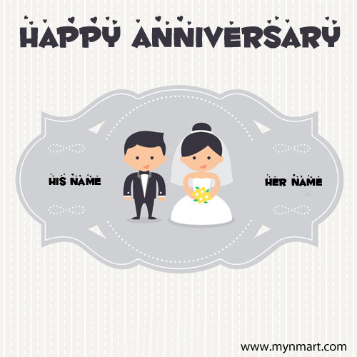 Happy Wedding Anniversary Couple Profile Picture with His Name and Her Name