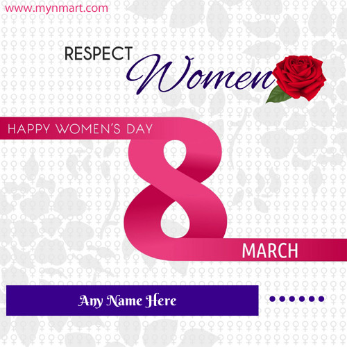 Happy women day greeting with name