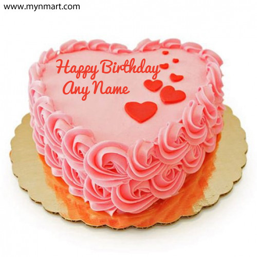 Heartshape Birthday Cake Greeting with your name