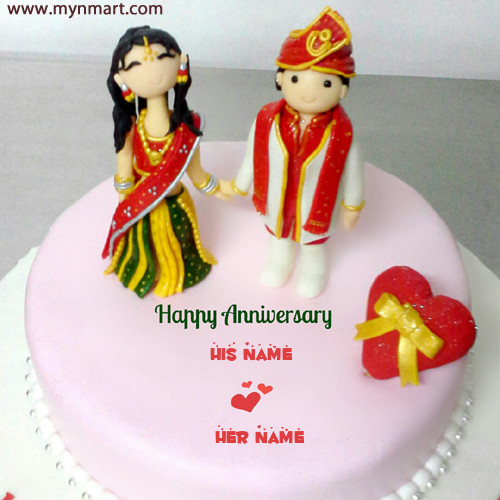 Indian Traditional Wedding Anniversary Cake With Couple Name on Cake