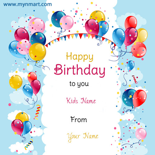 Kids Birthday Balloon Card Wish With Your Name and Kids Name