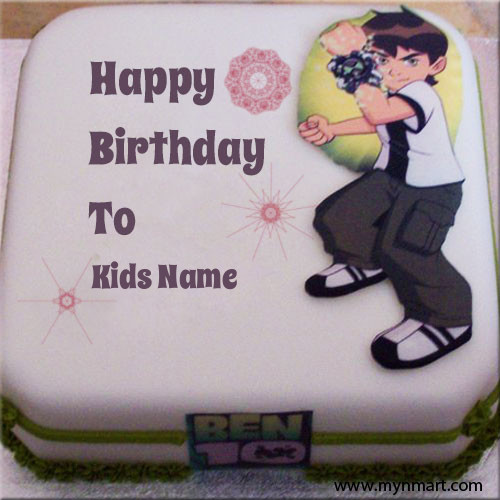 Kids Name On Cartoon Birthday Cake