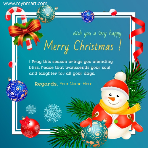 Merry Christmas Greeting Quotes with your name