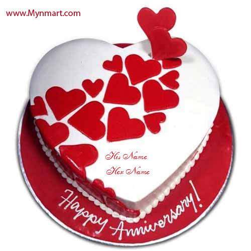 Red Heart Anniversary Cake