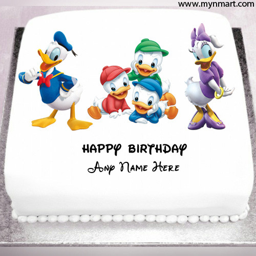 Smiling and Happy Donald duck Birthday Cake With Name on cake