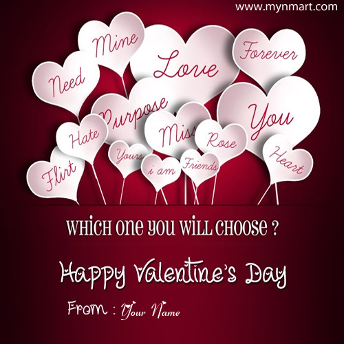 Valentine Day 2019 Greeting With Your Name and Wishes