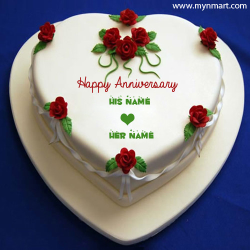 Wedding Anniversary cake With Heart Shape and His Her Name on Cake