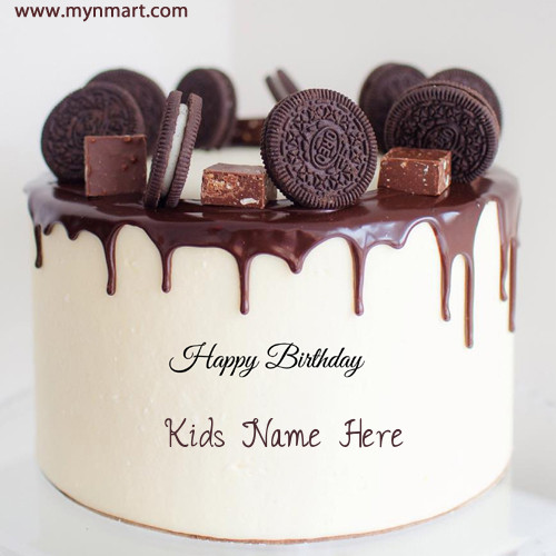 Write Any Name on Oreo Biscuit Decorated Chocolate Cake