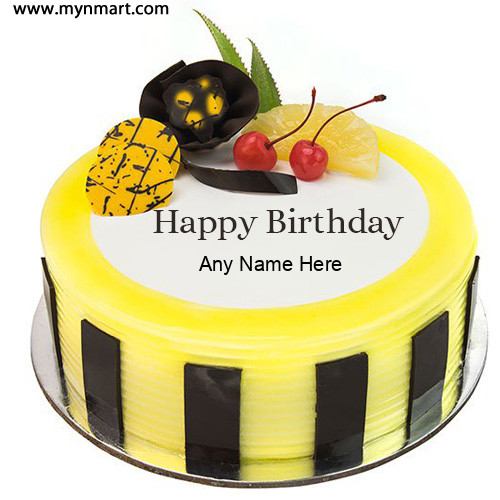 Write Name On Pineapple Birthday Cake With Birthday Person Name